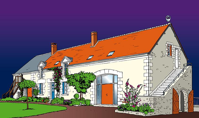 Maison, longère, ferme, campagne, pierre,propriété, dessin, BD, ligne claire, bande dessinée